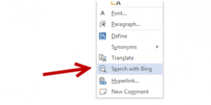 change bing search ms word