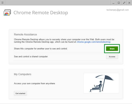 Windows Screen Sharing Chrome Remote Desktop